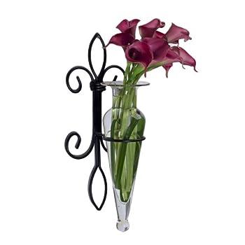 Clear Amphora Flower Vase On Iron Fleur Lis Sconce
