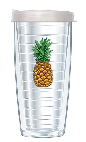 Pineapple Emblem Traveler 16 Oz Tumbler Cup with Clear (Pineapple Emblem)