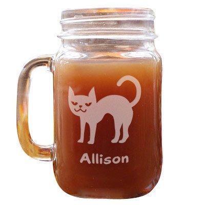 GiftsForYouNow Halloween Cat Personalized Mason Jar, Glass, 16 oz.