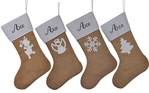 HUAN XUN Personalized Burlap Christmas Stockings Custom Name Ace Best Tree Fireplace for Home Familys ()
