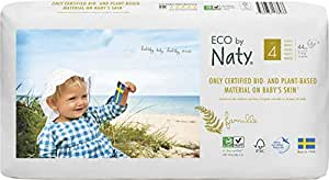 Eco by Naty Premium Disposable Baby Diapers for Sensitive Skin, Size 4, 2 packs of 44 (88 Diapers) (Chemical, dioxin, fragrance free)