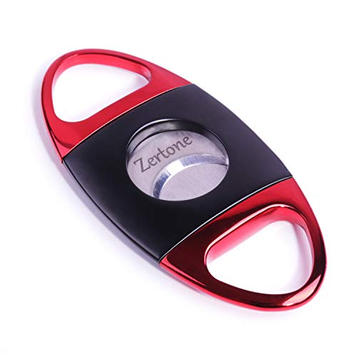 Perfect Cigar Cutter Guillotine Stainless Steel Double Blade, 23mm Max. Cigar Diameter Guillotine Cigar Cutter (Black Red) - Cigar Double