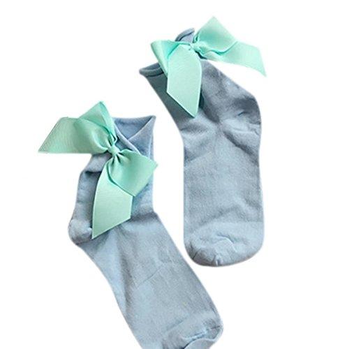 Calzini Sagton Donna Harajuku Street Style Cotone Caviglia Lunghezza Calze Crew Con Bowknot Azzurro + Azzurro
