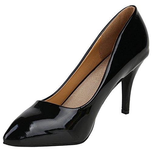 Stiefelparadies Elegante Spitze Pumps Damen High Heels Lack Stilettos Animal Print Flandell Schwarz Lack Arriate