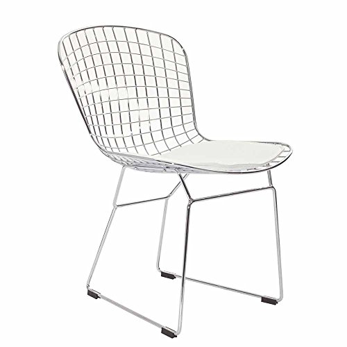 White Harry Bertoia CAD Wire Dining Side Chair FMP251289 ()