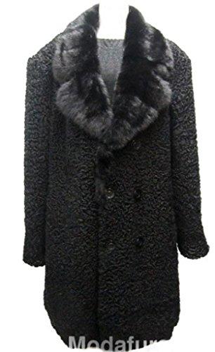 Men's Sz XXL New Black Persian Lamb Fur Coat w/Mink Fur Collar Length 45