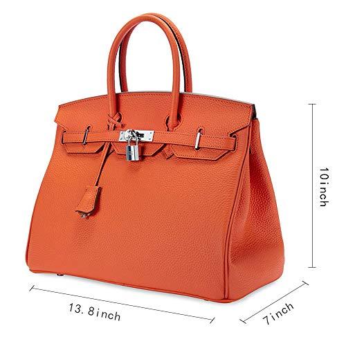 Women's Handbags Ladies Genuine Leather Handle Shoulder Handbags Strap Organizer Crossbody Handbags with Gold Hardware by GAOAG (Image #2)