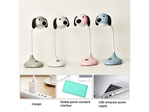 Yunqir Compatible Cute Dog Touch Table Lamp USB Charging LED Reading Light (Gray) by Yunqir (Image #2)