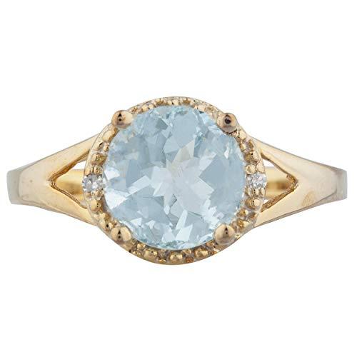 2 Ct Genuine Aquamarine & Diamond Halo Design Round Ring 14Kt Yellow Gold Rose Gold Silver
