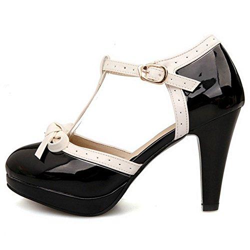 TAOFFEN Mujer Moda Tacon Embudo Alto Correa en T Sandalias Bombas Zapatos con Bowknot Black