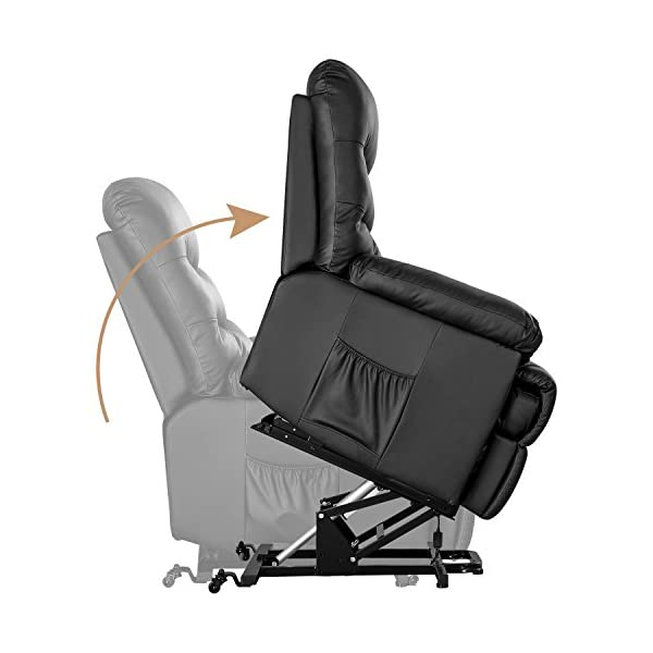 Fabulous Merax Power Recliner And Lift Chair In Black Pu Leather Lift Recliner Chair Heavy Duty Steel Reclining Mechanism Gmtry Best Dining Table And Chair Ideas Images Gmtryco