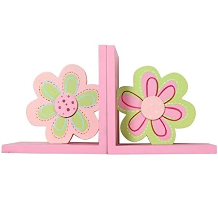 Pink Wood Children's Sun Flower Bookends Set of Two