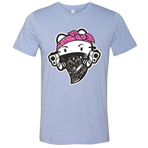 Hello Kitty Gangster Thug Mens Fitted Tee - Heather Blue X-Large (Hello Kitty Gangster)