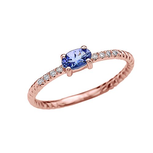 Dainty 14k Rose Gold Diamond and Solitaire Oval Tanzanite Rope Design Stackable/Proposal Ring(Size 4.5) - 14k Oval Tanzanite Ring