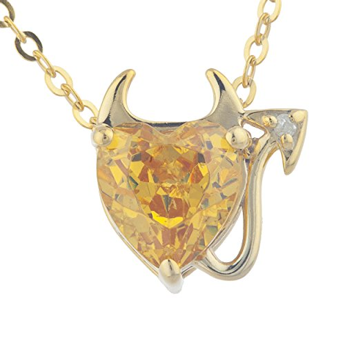 Necklace Diamond Citrine Prong - 1.5 Ct Yellow Citrine & Diamond Devil Heart Pendant 14Kt Yellow Gold Rose Gold Silver
