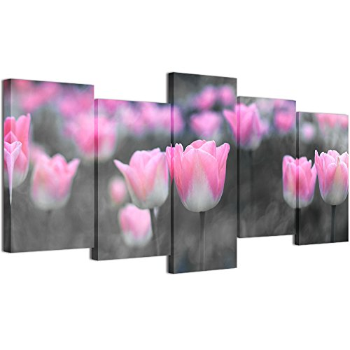 Tulips Flower Pictures (Welmeco 5 Pieces Flowers Pictures Wall Decoration Fancy Black and White Pink Tulips Floral Painting Giclee Canvas Prints Gallery Wrap Home Living Room Bedroom Artwork (01 Tulip))