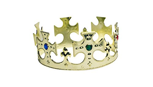 Crown Jeweled Plastic (Plastic Crown Jeweled Prince Princess Head or Centerpiece Decoration School Play 10