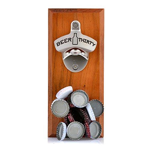 Barware Gear Bottle Opener & Magnetic Cap Catcher. Cherry Wood. (Beer Thirty)