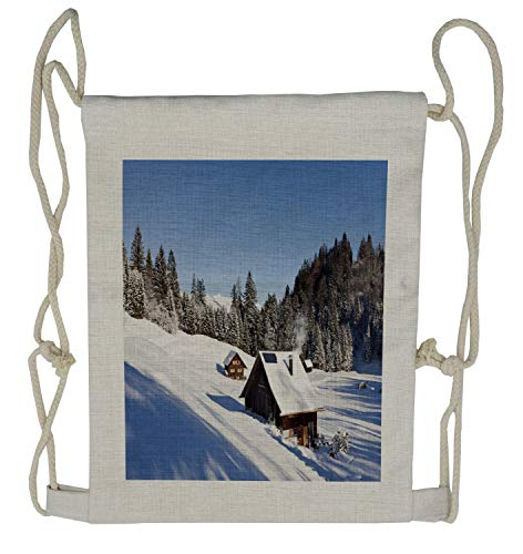 Ambesonne Winter Drawstring Backpack, Log Cabins in Mountains, Sackpack ()