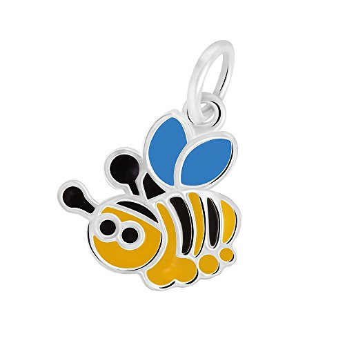Enameled Bee Charm - Sterling Silver Enameled Flying Bee Charm Pendant (Approximately 11.5 x 12 mm)