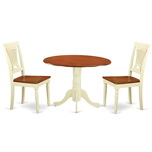East West Furniture DLPL3-BMK-W 3 Piece Dining Table and 2 Kitchen Chairs Small Set