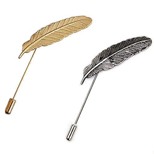 AngelShop Men Metal Brooch Pin Vintage Feather Leaf Lapel Stick Brooch Pin for Suit 2PCS Feather