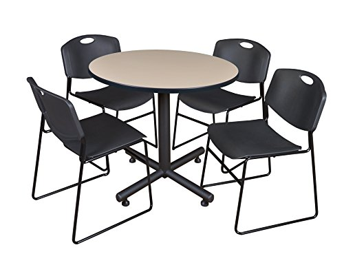 Regency Kobe 42-Inch Round Breakroom Table, Beige, and 4 Zeng Stack Chairs, Black by Regency Seating