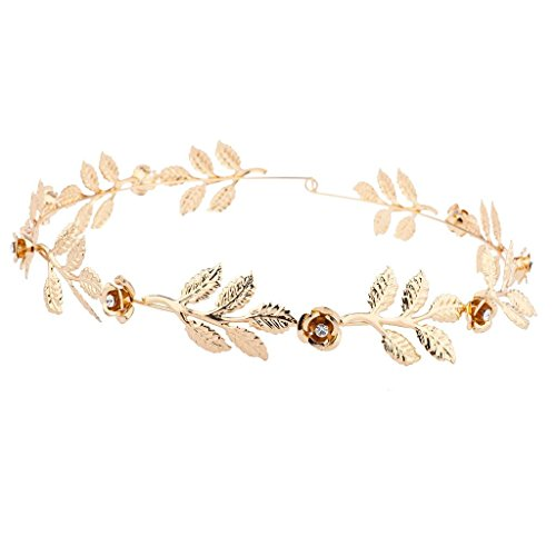 Lux Accessories Gold Tone and Rhinestone Leaf Leaves Metal Flower Crown -
