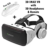 VR Headset for 3D IMAX Movie Video Game, Virtual Reality Goggle w/Headphones & Remote Fit for iPhone Xs XR X 8 7 6S 6 Plus Samsung Galaxy S9 S8 S7 S6 Edge etc iOS Android Cellphone, White VR Glasses