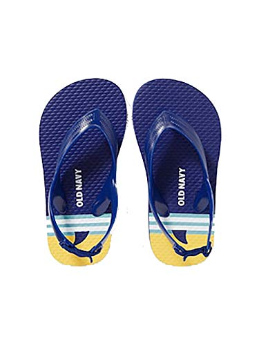 (Old Navy Printed Flip-Flops for Toddler Boys - Beach Shoes Sandals with Back Strap (6, Beach Scene))