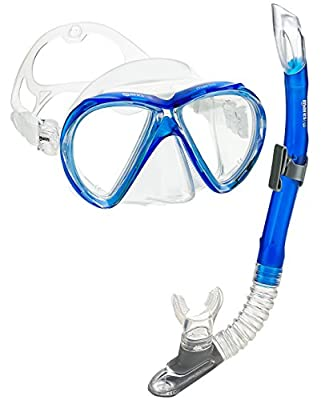 Mares Marlin Dual Tempered Lens Mask Semi-Dry Snorkel Set