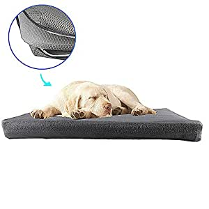 Orthopedic Dog Bed Antibacterial & Anti-Mold - Pet Bed Easy to Clean & Quickly Dry, Three - Dimensional Hollow Stroucture Dog Crate Bed with 2 Removable Bed Covers, Perfect Four Season Functions