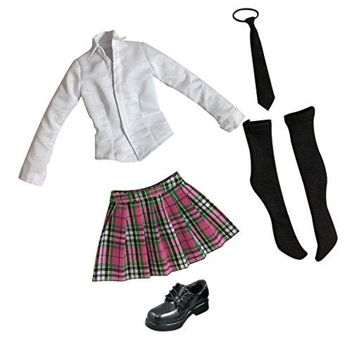Jili Online 1/6 12inch Action Figure Clothes Student Uniform Suit + Leather Shoes Pink
