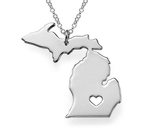 1pcs/lot Stainless Steel Michigan Map Charm Pendant Necklaces with a Heart (Silver) ()