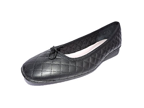 Quilted Leather Wedge - Paul Mayer Attitudes Women's Grand Black Quilted Leather Low Wedge Heel Ballet Flat Size 6 M