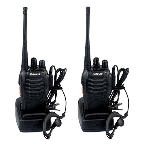 Retevis H-777 Funkgerät UHF 400-470MHz 16 Kanäle CTCSS/DCS Walkie Talkie mit Headset 1500mAh Li-Ion-Akku Standladeschale (2er-Set, Schwarz)