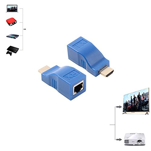 HDMI Extender,GEATSTAR 30M HDMI to RJ45 Network Cable Extender Converter Adapter, Splitter, Repeater by Cat 5e Cat 6 1080P for HDTV HDPC PS4 STB 4K 2K (Blue)