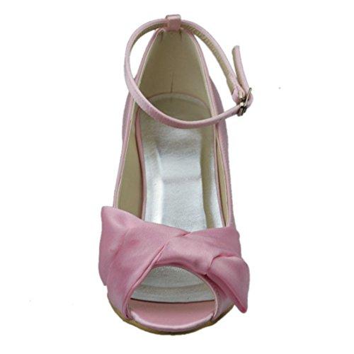 tacón 7 Pink Minishion Sandalias 62 satén tiras novias cm para 8cm mujer de Heel zapatos de fiestas bodas para qwXaXtA