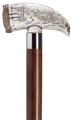 Canes - Seven Seas Walking Stick - Whale Tooth Cane - Walnut Shaft