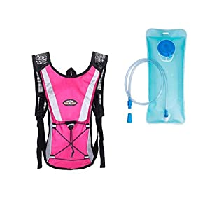Monvecle Hydration Pack Water Rucksack Backpack Bladder Bag Cycling Bicycle Bike/Hiking Climbing Pouch + 2L Hydration Bladder Rose
