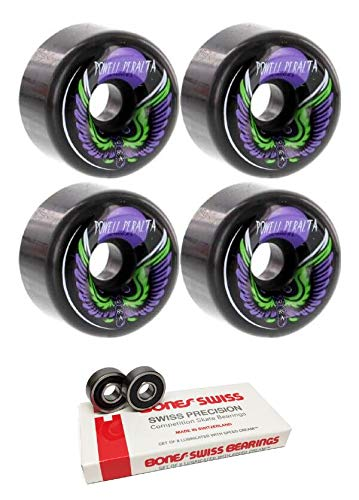 - Powell-Peralta 60mm Bomber 3 Black Skateboard Wheels - 85a with Bones Bearings - 8mm Bones Swiss Skateboard Bearings (8) Pack - Bundle of 2 Items
