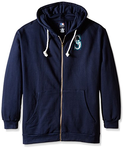 MLB Seattle Mariners Women's Plus Size Zip Hood with Logo, 4X, Navy by Profile Big & Tall