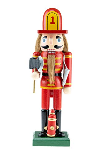 Clever Creations Wooden Fireman Nutcracker | Red and Yellow Uniform Holding Axe | Festive Traditional Christmas Decor | Great for Any Holiday Collection | 10