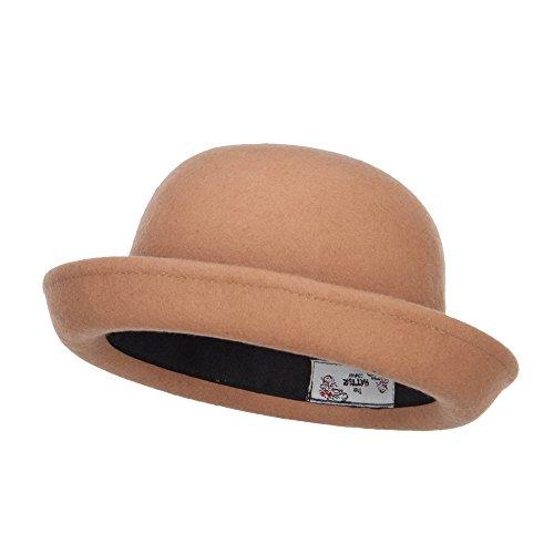 Wool Felt Upturn Brim Bowler Hat - Tan OSFM