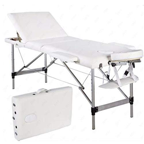 Simply-Me Massage Table Massage Bed Aluminum Alloy 3 Folding Portable Beauty Massage Table Height Adjustable Spa Bed Facial Salon Tattoo Bed,White