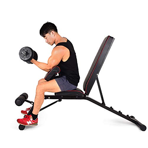 Soges Multi Functional Dumbbell Bench Adjustable Height Incline Bench Multi Workout Abdominal Hyper Back Extension Bench Home Strength Training