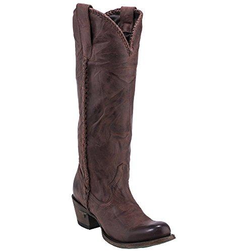 Lane Women's Plain Jane Wine Cowgirl Boot Round Toe Dark Brown 8.5 M by Lane