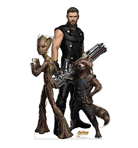Advanced Graphics Groot, Thor & Rocket Raccoon Life Size Cardboard Cutout Standup - Marvels Avengers: Infinity War (2018 Film)