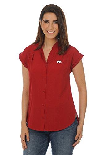 (UG Apparel NCAA Arkansas Razorbacks Women's Cece Top, Crimson/White,)