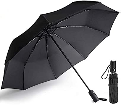 Black Light-Weight /& Compact Sun /& Rain Folding Umbrella for Men//Women Durable Windproof Travel Umbrella Auto Open /& Close with Teflon Coating 10 Ribs
